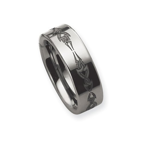 Black Bow Jewellery Company : Tungsten, 8mm Laser Etched Band Size Q