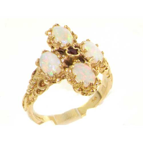 Heavy Weight Victorian Design Solid Yellow Gold Vibrant Ruby & Fiery Opal Ring - Size 8.75 - Finger Sizes 5 to 12 Available