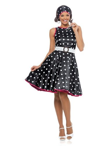 Hot 50s Black Adult Costume