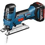Bosch Professional GST 18 V-LI S, 18 V Akkuspannung, 120 mm Schnitttiefe in Holz, L-BOXX, Schnelllader, Spanreißschutz, 2 x 4,0 Ah Li-Ion Akku, Sägeblätter