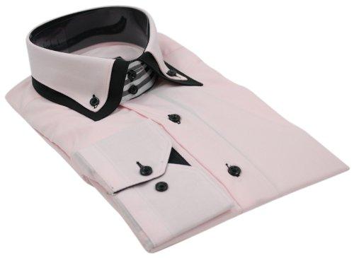 Mens Italian Design Pink Black Double Collar Shirt Slim Fit Smart or Casual 100% Cotton