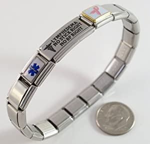 Lymphedema Medical ID Alert Italian Charm Bracelet Right