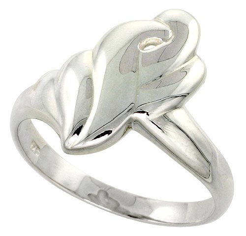 Sterling Silver Freeform Ladies Ring Flawless Quality Finish 3/4 inch wide, size 7