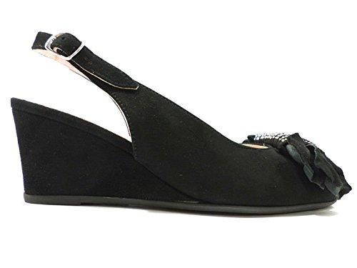 Scarpe donna LE BABE 36 sandali nero camoscio AT254
