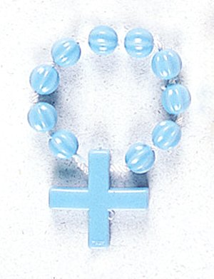 Finger Ring Rosary - Blue with Nylon - MADE IN ITALY