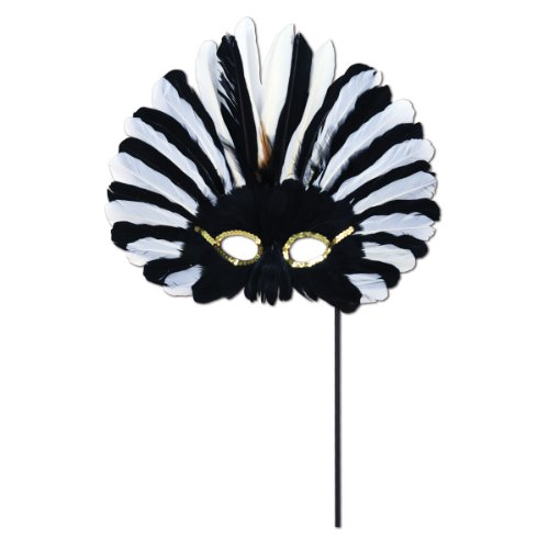 Beistle Feathered Mask with Stick for Halloween Party