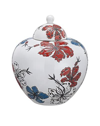 David Tutera Lidded Ceramic Jar, Blue/White/Red