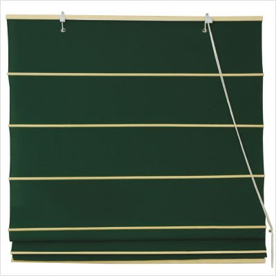 Cotton Roman Shades Blinds in Dark Green Width: 24
