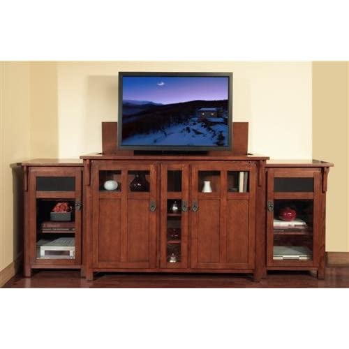 Touchstone bungalow tv lift cabinet for flat screen tvs up for Tv lift consoles for flat screens