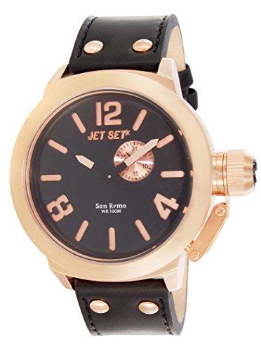 Jet Set - J1142R-267 - San Remo - Montre Homme - Quartz Analogique - Cadran Noir - Bracelet Cuir Noir