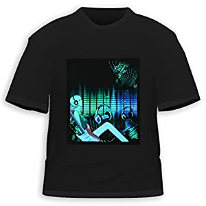 HDE Rock DJ Equalizer Sound Activated LED T-Shirt (XXL)