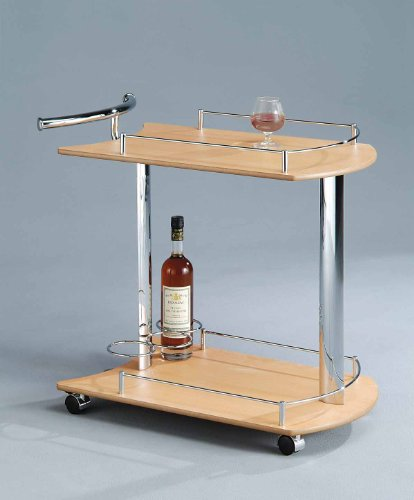 Chrome & Natural Finish Wood Serving Cart