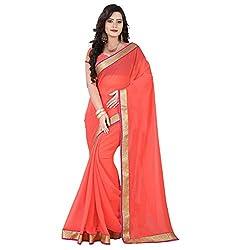 Aagaman Fashion Chiffon Saree ( TSKL6021_Orange )