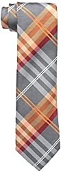 Geoffrey Beene Men's Petros Plaid II Tie, Orange, One Size