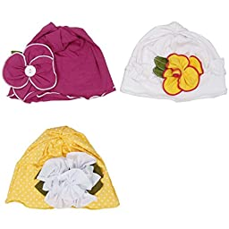 Bundle Monster 3 pc Baby Girl Toddler Soft Cotton Knit Various Design Pattern Flower Hat Beanies - Set 2: Springtime Sweet