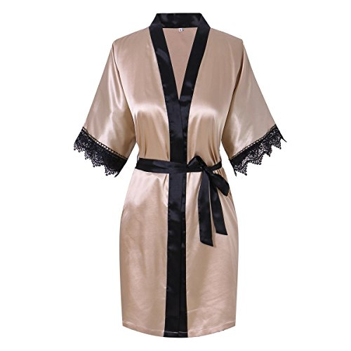 Yukata Women's Elegant Charming Short Kimono Robe With Lace Bordure Trim, Champagne 3XL (Womens Plus Size Robes)