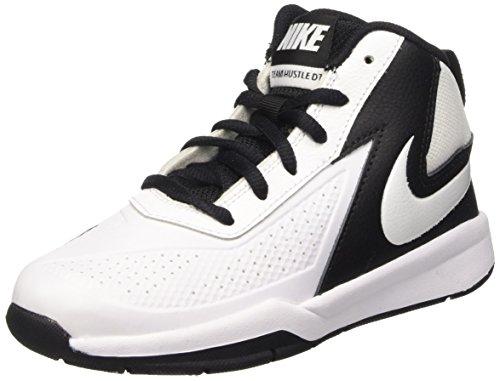 Nike Team Hustle D 7 (Ps), Scarpe da Basketball Bambini e Ragazzi, Bianco / nero (bianco / bianco-nero), 34