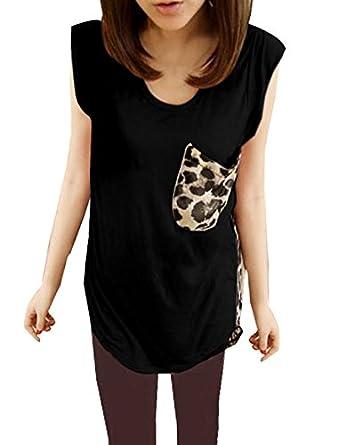 Allegra K Ladies Leopard Prints Padded Shoulder Semi Sheer Splice Tank Top Black Beige Brown XS