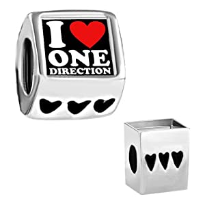 Pugster I Love One Direction Photo Heart Love Bead Fits Pandora Chamilia Biagi Charms Bracelet by Pugster