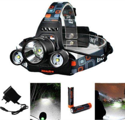 5000LM 3x CREE XM-L T6 LED Focus Phare / Headlamp Headlight Zoom Head Torch Light + 2 X 18650 Batterie + Chargeur UE LD363