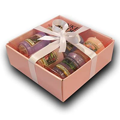 Yankee Candle - 6 Floral Votive Samplers In Pink Branded Gift Box Pink Tissue White Ribbon Incl Fresh Cut Roses Garden Sweet Pea Cherry Blossom Lilac Blossoms Pink Lady Slipper And French Lavender from Yankee Candle