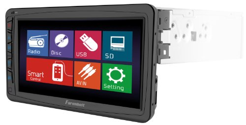 Farenheit Ti-712B 1-Din Multimedia Source Unit With Motorized Hang Down 7-Inch Lcd Touch Screen And Bluetooth V2.0