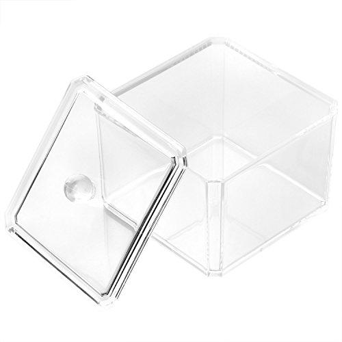 TRIXES Contenitore da tavolo per batuffoli di cotone in materiale acrilico trasparente, porta trucco.