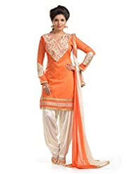 Ethnic For You Orange & White Chanderi Cotton Embroidery Work Dress Material-ETH5200