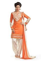 Ethnic For You Women's Cotton Salwar Suit Dress Material(ETH5200_Orange)