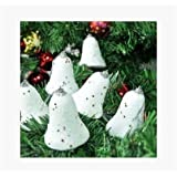 Decorative Buckets:SET OF 6 WHITE BELLS :CHRISTMAS TREE DECORATION HANGING: WHITE CHRISTMAS TREE DECORATIONS ORNAMENTS