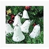 Decorative Buckets:SET OF 6 WHITE BELLS :CHRISTMAS TREE DECORATION HANGING: WHITE CHRISTMAS TREE DECORATIONS ORNAMENTS
