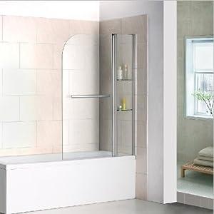 Drehen 180° Aufsatz Badewanne Duschwand Trennwand Duschabtrennung 100x140cm B2S-H