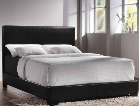Queen Faux Leather Upholstered Low-Profile Bed In Black By Coaster front-951832