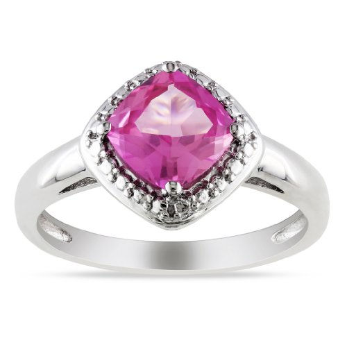 Sterling Silver Cushion-Cut Pink Sapphire Ring, Size 7