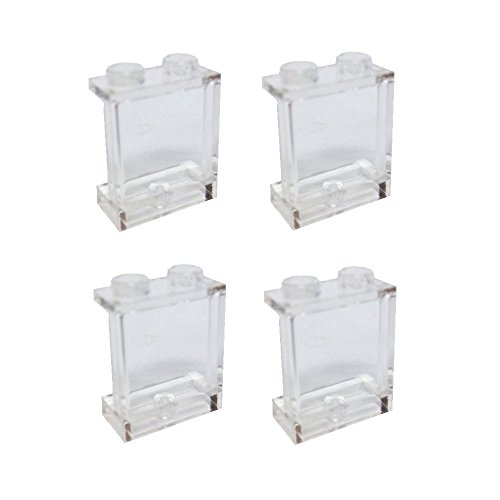 Lego Parts: Panel 1 x 2 x 2 with Side Supports - Hollow Studs (PACK of 4 - Transparent Clear) - 1