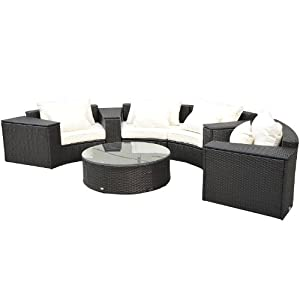 Outsunny 9-Piece Outdoor Patio Rattan Wicker Crescent Couch Sofa Set by Aosom Direct - Lawn & Garden