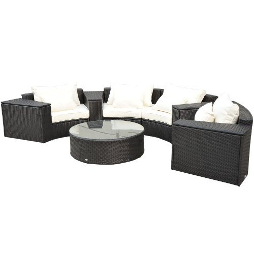 Outsunny 9pc Outdoor Patio Rattan Wicker Crescent Couch
