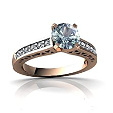 buy 14Kt Rose Gold Aquamarine And Diamond 6Mm Round Art Deco Ring - Size 8