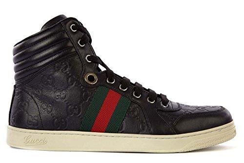 Gucci scarpe sneakers alte uomo in pelle nuove nero EU 40 221825 A9L90 1072