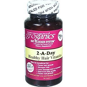 GROGANICS DHT Blocker System 2-A-Day Healthy Hair Vitamins (30 Capsules)