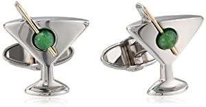 Dolan Bullock Sterling Silver and 14k Yellow Gold Martini and Jade Olive Cuff Links