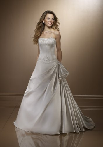Bridal Dresses : White Satin Wedding Gown with Pick-Ups