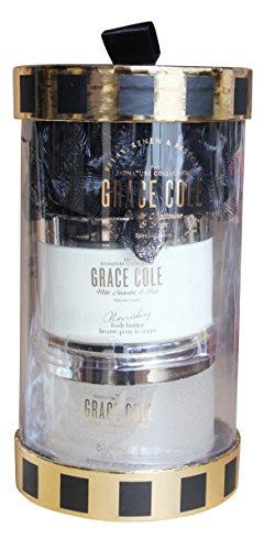 Grace Cole Nettarina & Pera 3Pc Collection : 300ml polacco Burro per il corpo Doccia Puff