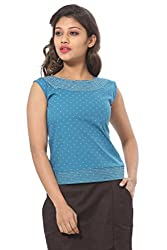 Abony Printed Turquoise Women's Top
