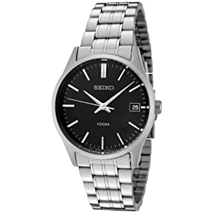 Click to buy Seiko Watches for Men: SGEF01P1 Black Dial Stainless Steel Watch from Amazon!