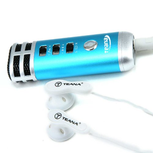 Tomtop Mini 3.5Mm Microphone Karaoke Player For Pc/Phone/Psp/Mp4/Mp3 Blue