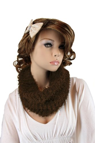 Fashion Dimensions Infinity Neck Scarf In Brown With Matching Bow Clip