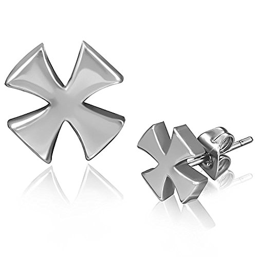 Stainless Steel 6mm Biker Maltese Cross Stud Earrings