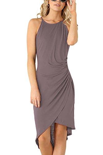 Eliacher Women's Summer Spaghetti Strap Sleeveless Casual Bodycon Midi Dress Dark Grey Medium (Bust  82-86cm/32.30-33.90