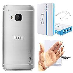 DMG PHNT Premium Scratch-Resistant Ultra Thin Clear TPU Skin Case for HTC One M9 (Clear) + DMG 15000 mAh Portable Power Bank